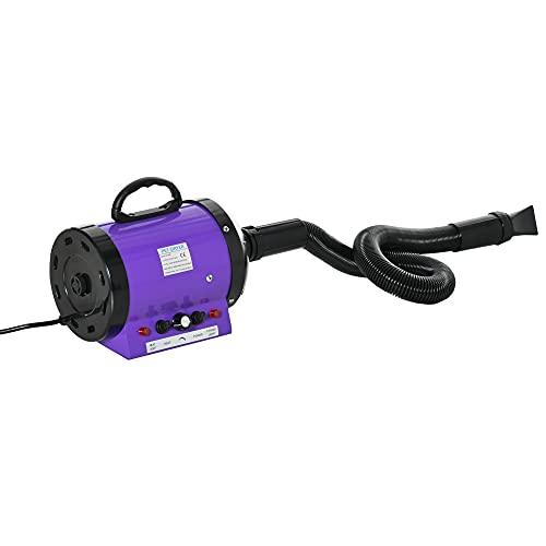 Pawhut Séchoir Sèche-Poils Toilettage Professionnel pour Chien Chat Animaux 2800 W Chaleur et Vitesse Réglable Violet et Noir