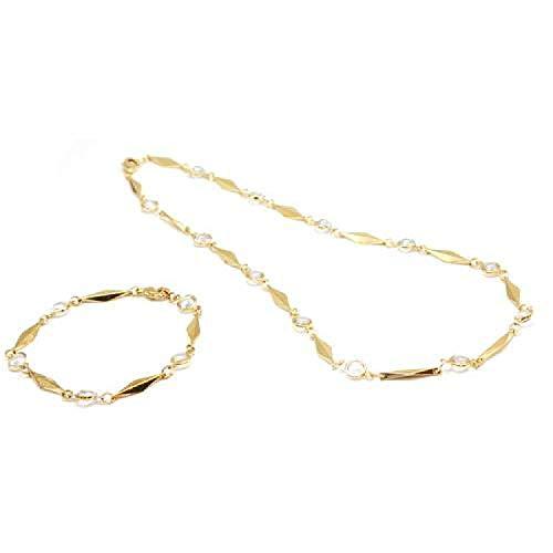 La Olivia Collection Collier et Bracelet au Ton Doré Présentés