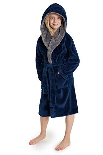 CityComfort Fleece Bademantel Kinder Frottier Robe Jungen Bademantel Plüsch Superweich (Blau, 13_Years)