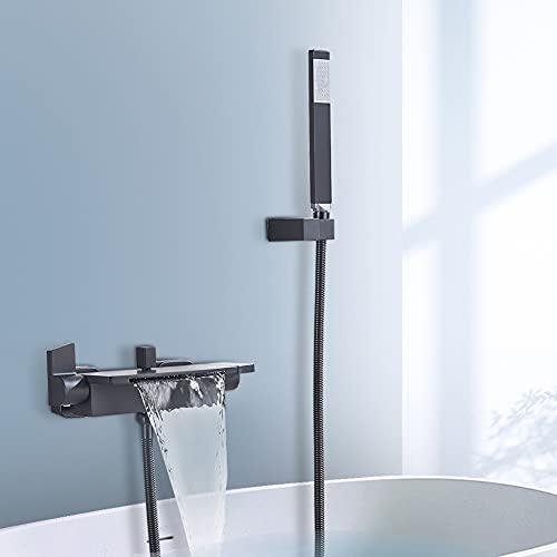 JunSheng Rubinetto per vasca da bagno,Rubinetto Per Vasca Da Bagno Cascata,con doccetta,Rubinetto da bagno a parete,2 manopole,nero