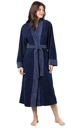 PajamaGram Women's Bathrobes Ultra Plush - Fleece Womens Robe, Navy, M/L, 8-14