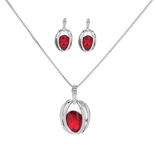 Qinghengyong Las Mujeres Colgante de Cristal Pendiente del Collar de la Vendimia Ahueca hacia Fuera el Juego de Ganchos Traje joyería de la Cadena del Cuello