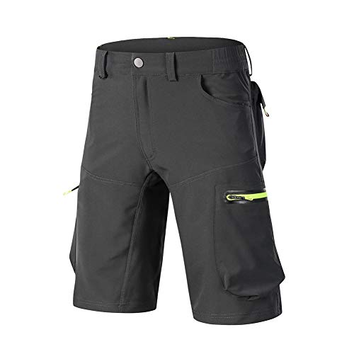 DaiHan Men Baggy Cycling Cargo Shorts Quick Dry Breathable Loose-Fit Outdoor Sports MTB Cycling Running Mountain Bike Half Pants Grey L