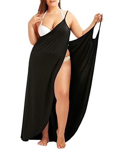 Sentaoa Damen V-Ausschnitt Lang Kleid Sommer Strand Wickelkleid Rückenfrei Einfarbig Strandkleid Ärmellos Bikini Cover Up Schlingenkleid (Schwarz#1, Asia L)