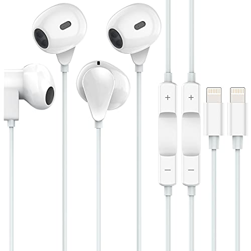 iPhone Headphones 2 Packs Wired Headphones iPhone Earbuds with Microphone Volume Control Compatible with iPhone 12/11 X/Xs/Xr/Xs Max/Pro/8/8plus 7/7plus/Se.