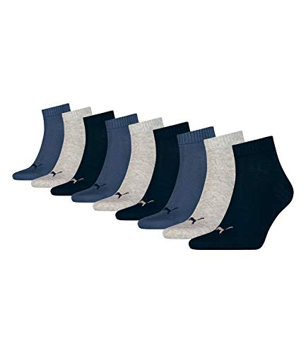PUMA unisex Quarter Sportsocken Kurzsocken Socken 271080001 9 Paar, Farbe:Mehrfarbig, Menge:9 Paar (3x 3er Pack), Größe:39-42, Artikel:271080001-532 navy/grey/nightshadow blue