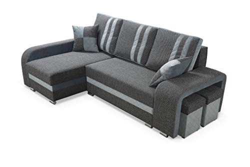 Robin York Ecksofa mit Schlaffunktion, Schlafsofa mit Bettkasten und Zwei Hocker, Freistehendes Eckcouch in L-Form, Sofa mit Schlaffunktion (Dark Grey/Grey)