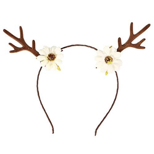 Amosfun Rendier Antlers Hoofdband met Bloemen Nieuwigheid Kerstmis Hoofddeksels Kerstmis Haaraccessoires Blauw 20 x 4 x 20 cm Kleur: wit