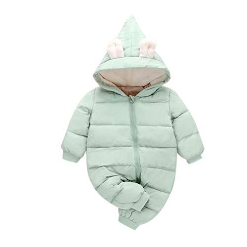 Enfants Hiver Combinaison de Ski Hoodie Barboteuse - Kids Manche Longue Coton Outerwear Filles Mignonne Doudoune (90cm Vert)
