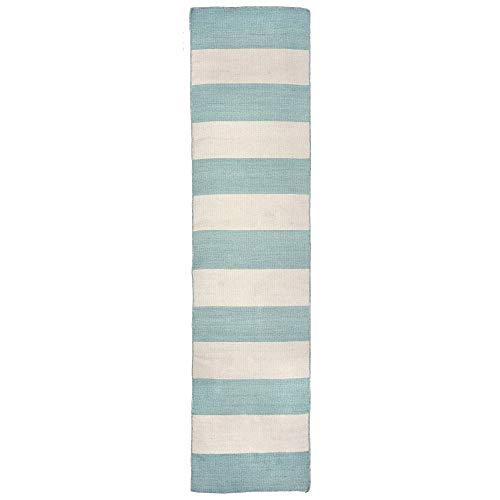 Liora Manne Sorrento Rugby Stripe Contemporary Indoor/Outdoor Modern Runner Area Rug, (2' X 8'), Aqua Blue and Ivory