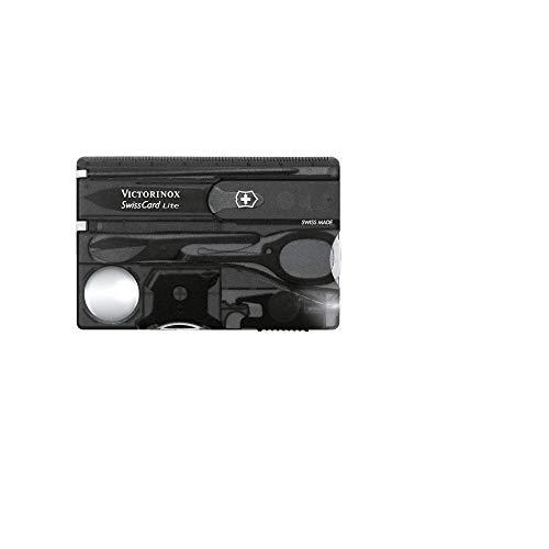 Victorinox Swiss Card Lite Taschenmesser, 13 Funktionen, LED-Licht, Lupe, schwarz transparent B1