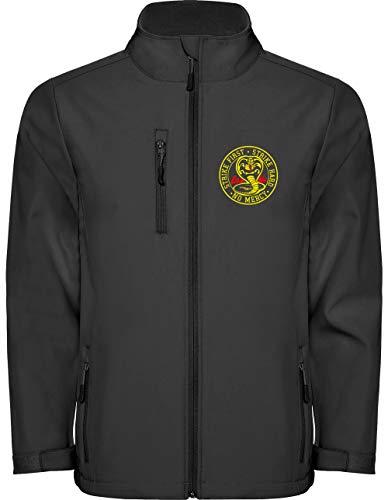 Camisetas EGB Chaqueta Softshell Cobra Kai Karate Kid ochenteras 80´s Retro (Negro, S)