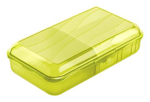 Rotho Fun Vesperdose 1,7l mit herausnehmbarer Trennwand, Kunststoff (PP) BPA-frei, grün, L/1,7l (24,5 x 14,5 x 6,5 cm)