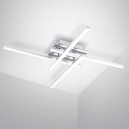 LEDMO 24W LED Deckenleuchte 4 Flammig LED Deckenlampe Wohnzimmerlampe 5500K, 4 x 6W 1800lm Deckenleuchte Kreuztyp Aluminium Moderne Deckenleuchte wohnzimmer.