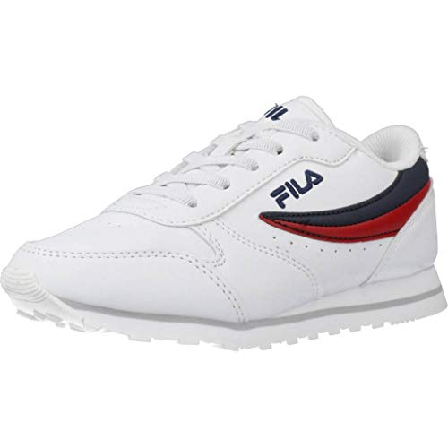 Zapatos Infantiles FILA Orbit Low de Cuero Blanco 1010783.98F