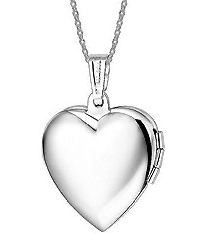 Tikiville, collana a clavicola con medaglione per conservare foto, ciondolo in acciaio inox 316L a forma di cuore, interno blu
