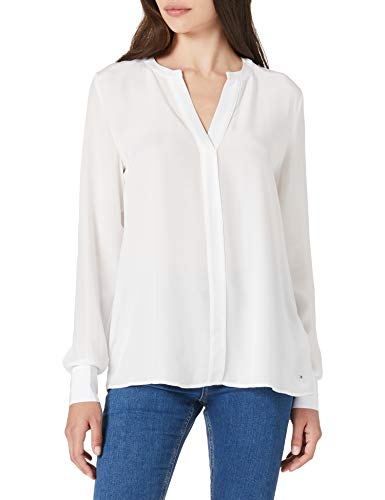 Tommy Hilfiger Damen Viscose V-neck Blouse Ls Hemd, Weiß, 38