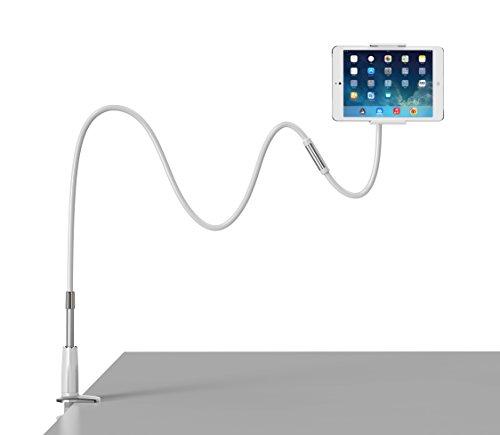 for iPad Halterung,Coomoors Mehrfunktional Abnehmbar iPad Halter Ständer mit Schwanenhals 360 Drehen Tablet Halterung Kindle Halterung Handyhalter Handy Halterung Tablet Halter-Silver