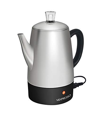 Mixpresso Electric Coffee Percolator | Stainless Steel Coffee Maker | Percolator Electric Pot - 10 Cups Stainless Steel Percolator With Coffee Basket