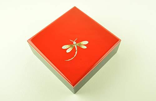 vnhomeware Boîte décorative orientale en bois avec couvercle, faite à la main, laquée brillante et incrustée, rouge/noir, taille moyenne (H022M)