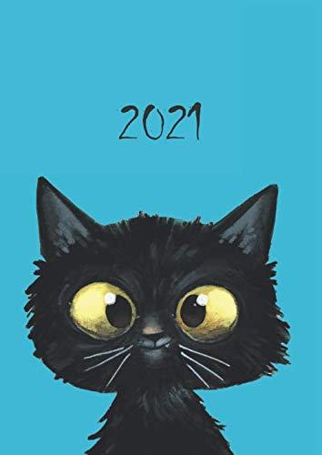 2021: dicker TageBuch Kalender - freche KATZE - gebundene Ausgabe - Business-Planer - Endlich genug Platz für dein Leben! 1 Tag = 1 A4 Seite