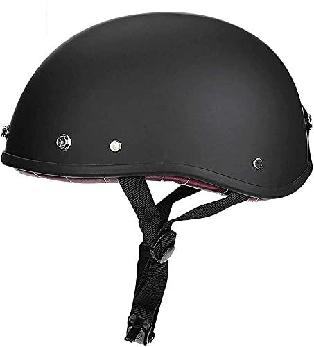 WSSCKT Casco de motocicleta con gafas, estilo vintage, cómodo, seguro, para scooter Cruiser correa de liberación rápida Shell medio casco unisex (color: E, tamaño: grande)