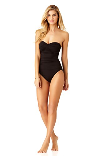 Anne Cole Women's Twist Front Shirred One Piece Swimsuit, Black, 8