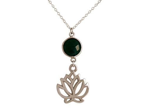 Gemshine YOGA Damen Halskette Lotus Blume grüner Smaragd Edelstein in Silber, hochwertig vergoldet oder rose. Nachhaltiger, qualitätsvoller Schmuck Made in Spain, Metall Farbe:Silber