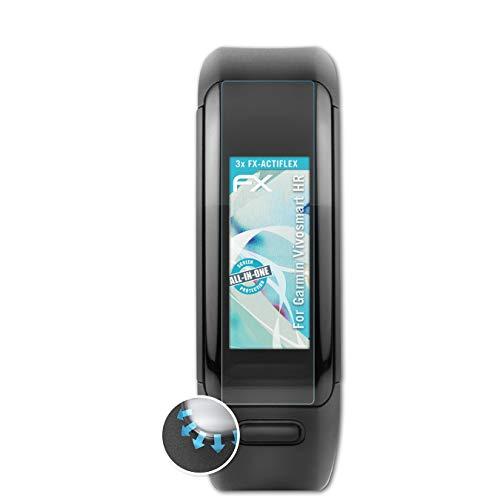 atFoliX Schutzfolie kompatibel mit Garmin Vivosmart HR Folie, ultraklare & Flexible FX Bildschirmschutzfolie (3X)