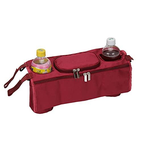 Ducomi Jene - Bolsa universal para cochecito de bebé y manillar – Organizador para cochecito de bebé, accesorios, biberón, pañales, bolsillo central y 2 portabotellas (Burgundy)