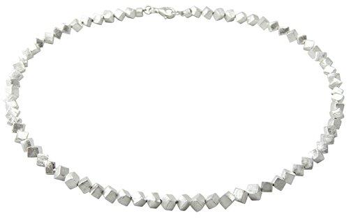 Würfel Kette - Goldschmiedearbeit aus 4 mm Würfeln (Sterling Silber 925, mattiert) Würfelkette - Halskette - Collier