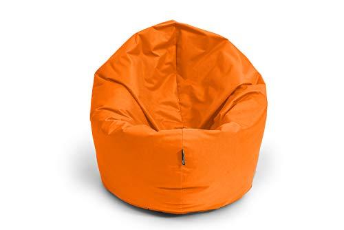 BuBiBag Sitzsack 2-in-1 Funktionen mit Füllung Sitzkissen Bodenkissen Kissen Sessel BeanBag (100 cm Durchmesser, orange)