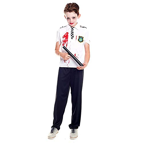 Hipex Collection Disfraz de Cosplay para nios, Halloween, Carnaval, Fiestas, Disfraces infantil (Polica zombie , 10-12 aos)