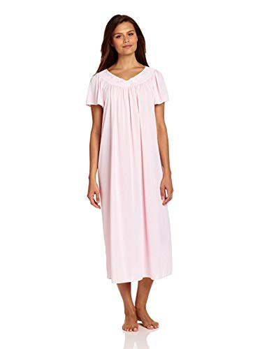 Miss Elaine Women's Tricot Long Flutter Sleeve Nightgown, Pink, Large
