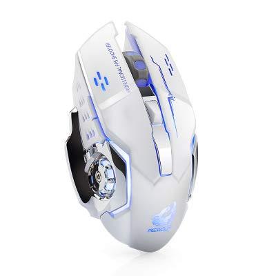 Salandens Ratón inalámbrico Recargable para Juegos, 2.4G USB LED Optical Silent Wireless gaming Mouse, Auto Sleeping, Ergonomics Grip, 3 dpi Ajustable(800 DPI,1600 DPI,2400 DPI), 7 Botones compatibles con computadora portátil/PC/portátil Ratón inalámbrico para Juegos