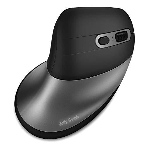Jelly Comb MV056 - Mouse ergonomico Bluetooth 4.0, wireless e Bluetooth 4.0, con poggiapolsi e 3 DPI regolabili (1000/1600/2400), nero e grigio scuro