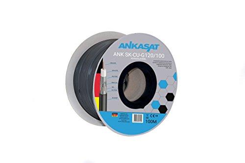 Ankasat SK-CU-G 120dB - 100m - 120 dB Koaxial Sat Erdkabel 3-Fach geschirmt 100 Meter Vollkupfer Innenleiter/Antennenkabel für DVB-S/S2, DVB-C, DVB-T/T2