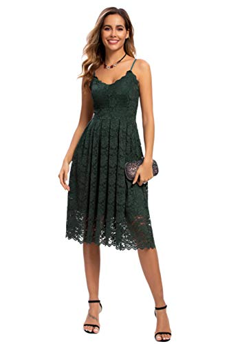 Sexy V Neck Sleeveless Evening Dresses for Women Cocktail Formal Wedding Guest Lace Dresses Green