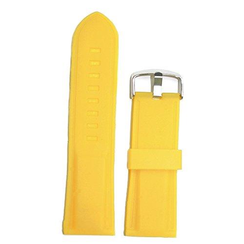 Alexis 26mm Top grado amarillo silicona goma unisex reloj banda correas + herramienta de eliminación de barra de resorte