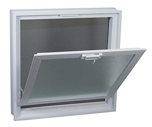 Ventana practicable: para el montaje en la pared de bloques de vidrio - 384x384mm, en lugar de 4 bloques de cristal 19x19x8 cm