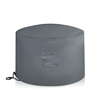 LIVIVO Deep Deluxe Fire Pit Cover with Covered Air Vent, and Drawstring with Toggle for Secure Fit (Round) by LIVIVO