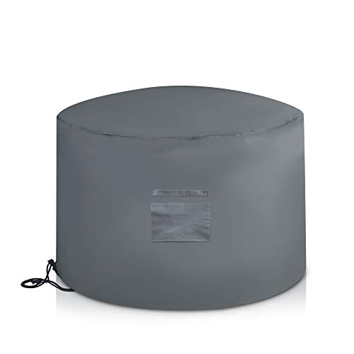 LIVIVO Deep Deluxe Fire Pit Cover with Covered Air Vent, and Drawstring with Toggle for Secure Fit (Round)