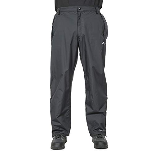 Trespass Corvo Trousers, Black, XS, Waterproof Trousers with Adjustable Ankle Tabs for Men, X-Small, Black