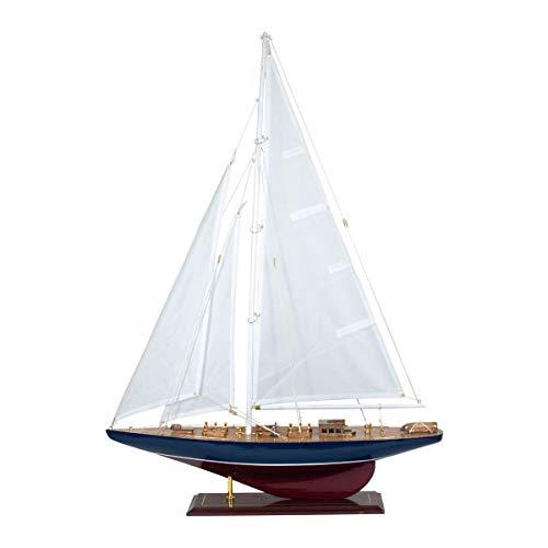 Vidal Regalos Statuetta decorativa a forma di barca a vela, in legno, modellino in miniatura, candela 83 cm
