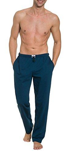 HAASIS BODYWEAR, Herren Pyjamahose lang mit Seitentaschen, Single Jersey, Reine Baumwolle, Gummibund mit Kordel, Größe:M, Farbe:Navy