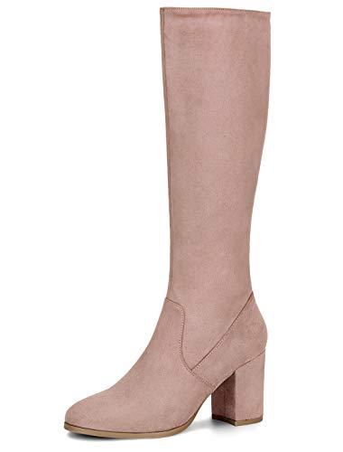 Allegra K Women's Side Zipper Chunky Heel Dust Pink Knee High Boots 8 M US