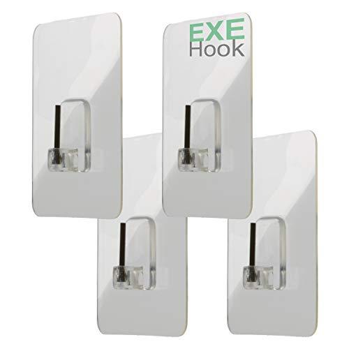 EXEHook 4X Wandhaken Saugnapf/Selbstklebend für Küche, Bad, Caravan transparent (4Kg-Gardinenstangen)