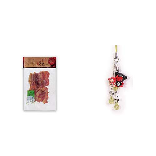 [2点セット] 薫製達人 豚バラベーコン燻製(60g)[飛騨山椒付き]・さるぼぼペアビーズストラップ 【緑】/縁結び・魔除け//