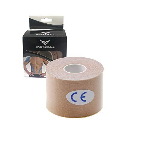 East&Bull - Nastro kinesiologico Pre-Tagliato, 5 cm x 5 m, Beige