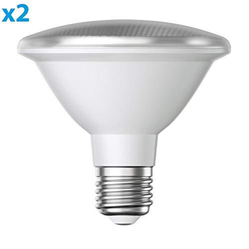 ledscom.de E27 PAR30 LED Reflektor-Leuchtmittel 12W 1100lm warm-weiß A+ auch wetterfest mit kurzem Hals, 2 Stk.